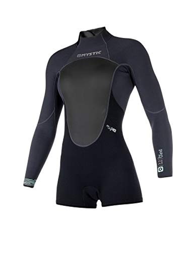 Mystic Womens Brand 3 / 2MM Reißverschluss-Langarm-Neoprenanzug mit tiefem Arm Schwarz - Flatlock-Nähte - Easy Stretch