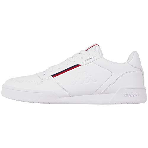 Kappa MARABU Sneaker für Frauen & Männer | Damen & Herren Sportschuhe mit Kappa-Logoprägung und farbigen Applikationen | pflegeleichte Begleiter zu vielen Outfits | weiß, Größe 44 EU