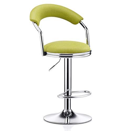 WEHOLY Metallstuhl Rotation kann angehoben und abgesenkt Werden Einfacher Hochhocker Hohe Rückenlehne Rezeption Hocker Cafe Freizeitstuhl (Farbe: Stoff Leder grün, Größe: Hoch)