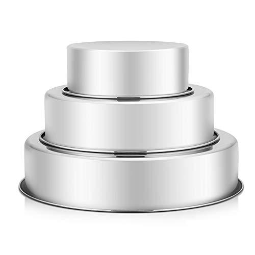 PundP Chef Kuchenform-Set, Edelstahl, r&, für Geburtstag, Hochzeit, Etagenkuchen, ungiftig & ges&, einteilig, auslaufsicher, spiegelnde Oberfläche & leicht zu reinigen