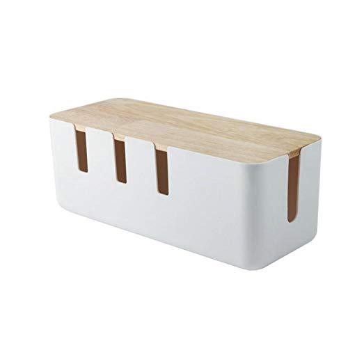 NIMON Caja de almacenamiento con tapa de madera Cable de carga Caja...
