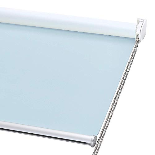 ChrisDowa 100% Blackout Roller Shade Window Blind with Thermal Insulated UV Protection Fabric Total Blackout Roller Blind for Office and Home Easy to Install Baby Blue23quot W x 72quot H