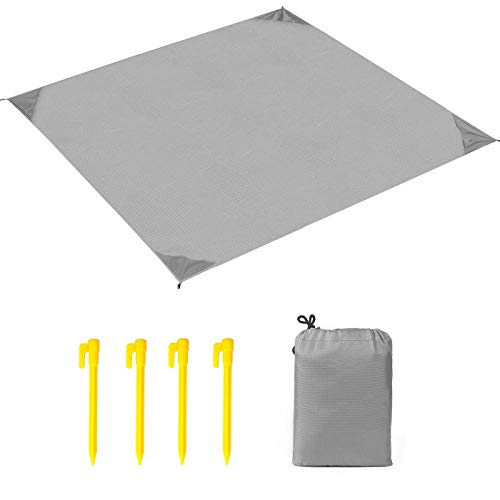 Uni-Wert Stranddecke Picknickdecke Campingdecke Strandtuch 200 x 140 cm Ultraleicht Decke mit Tasche Wasserdicht und sandabweisend (Grau)