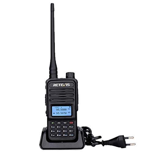 Retevis RT85 Walkie Talkie Doble Banda, Radioaficionado Largo Alcance, Transceptor de Mano 2m/70cm con Radio FM, VOX, DTMF, LED para Radioaficionados, Aventuras al Aire Libre (Negro, 1 Pieza)
