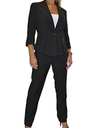 ICE Damen Anzug mit Hose - für Büro oder Geschäft - waschbar Schwarz 34-46 (42)