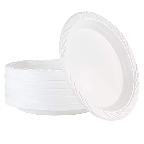 100 Count Disposable 9 Inch White Plastic Dinner Plates large