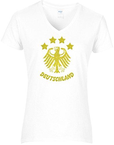Damen WM Shirt Deutschland Fussball 4 Sterne und Bundesadler Deutschland Schriftzug Germany 2018, T-Shirt, Grösse XL, Weiss