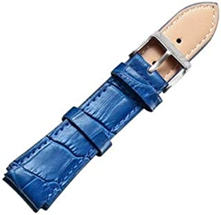 Lanbinxiang@  Simple and Stylish Watch with Silver Buckle Leather Strap, Width: 18 mm Fashion (Color : Blue)