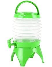 Dispensador de agua plegable de agua/cerveza/bebida, cubo de agua telescópico portátil, envase de agua de plástico con grifo, para fiestas de camping y jardín, 5.5L,Verde