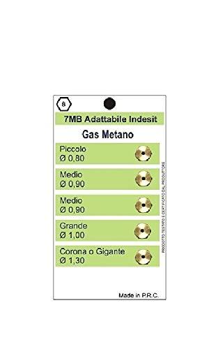 KIT 5 UGELLI CUCINA GAS METANO 7 MB INDESIT PIANO COTTURA 4 FUOCHI+FORNO diam.7 mm