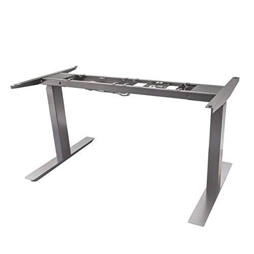 AnthroDesk AD-DMP2-US Adjustable Standing Desk Work Station, Fast Assembly Silver Dual Motor