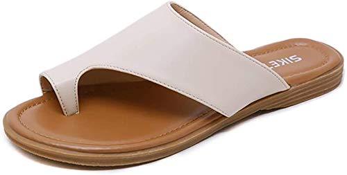 WellingA Zapatos de Mujer Plataforma Suela Plana Damas Casual Suave Dedo Gordo Corrección del pie Sandalia Corrector ortopédico de juanetes,Blanco,41