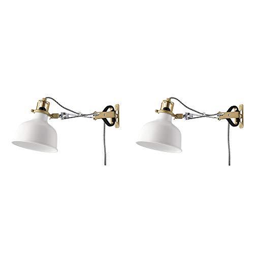 Ikea RANARP - Lámpara de pared con abrazadera, luz blanca con bombilla LED, 2 unidades