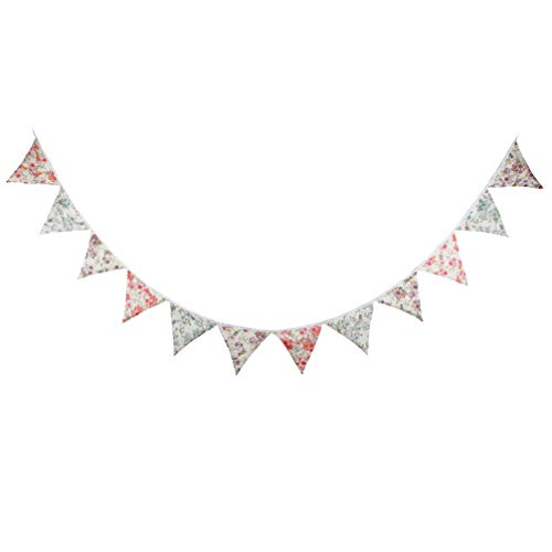 PRETYZOOM Bannière de Mariage Élégant Tissu Fanion Floral Coton Vintage Bunting Bannière de Fête D'anniversaire pour La Fête de Célébration