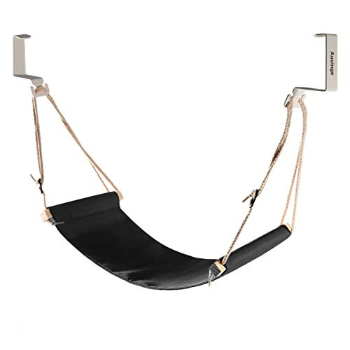Auoinge Canvas Foot Rest Hammock, Adjustable Mini Foot Rest Stand Under Desk Home Office Suitable for Normal Square Tables Not for Round Table Cubicle Desk