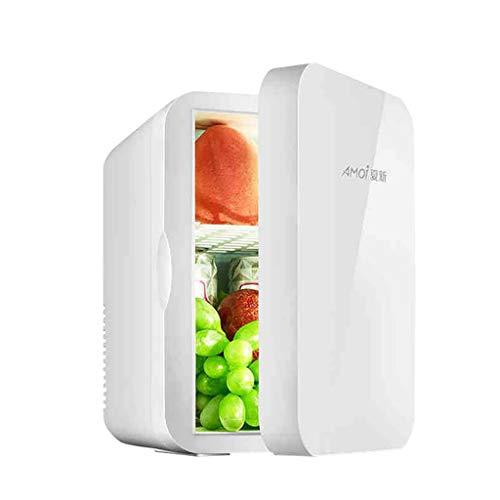 Mini Kühlschrank, 6 Liter Kühlschrank mit Kühl- und Heizfunktion, Getränkekühlschrank, AC / 12V DC, Tragbarer Kühlschrank für Autos, Büros und Schlafsäle (Weiß)
