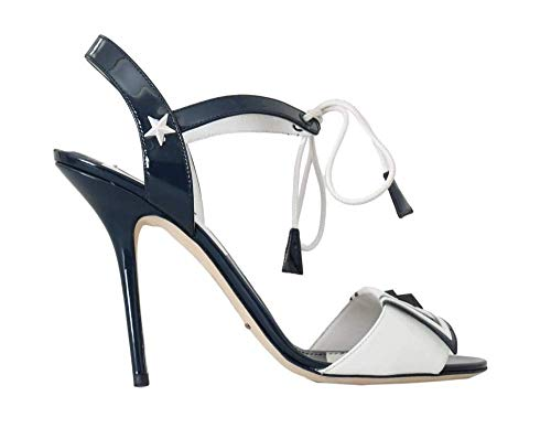 Dolce & Gabbana Blue White Leather Sandals Marina Shoes