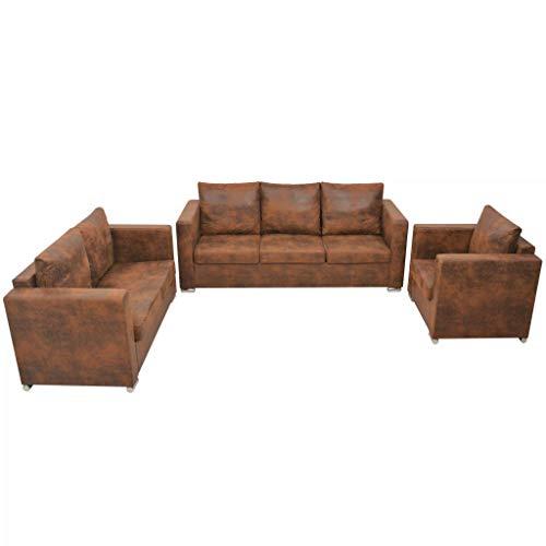 pedkit Couchtgarnitur in braunem künstliches Wildleder mit praktischer Relaxfunktion, Garnitur bestehend, Sessel, 2-Sitzer und 3-Sitzer Sofa, Frei...