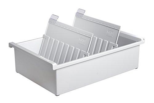 HAN Karteitrog DIN A5 quer – innovatives, attraktives Design für 1.300 Karten, inklusive 2 Stützplatten mit Sichtreitern, lichtgrau, 955-0-11