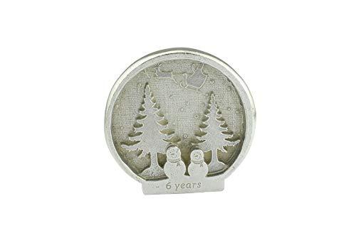 Schneemann-Szene für 6 Jahre Weihnachten, Schneekugel im Stil eines 6. Jahrestags, Metall-Ornament, Geschenk