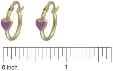18K Yellow Gold Lilac Enamel Heart Hoop Earrings 15mm