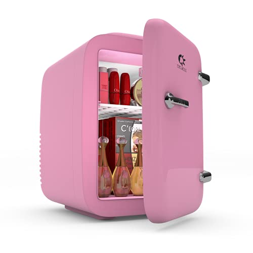 EDELWEISS Skincare Fridge, Mini Makeup Refrigerator, Cosmetic Beauty Fridge, Personal Kawaii Tiny Fridge, Small Breastmilk Fridge, Portable Design with Handle, Cute Gifts for Her4 Liter/6 Can, Pink