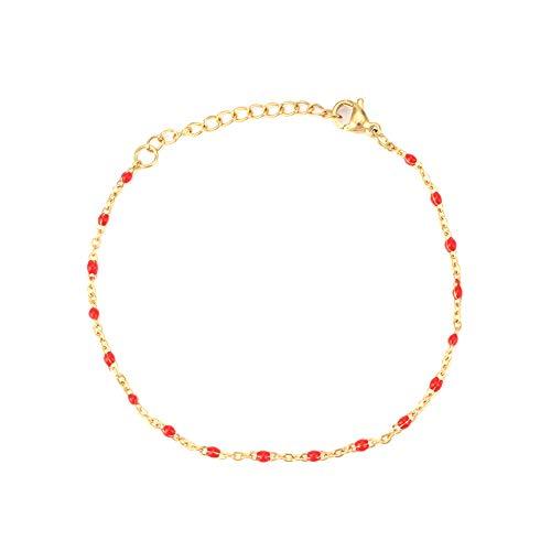 Pulseras para mujer de moda de mujer con cuentas de acero inoxidable, pulsera de cadena de regalo