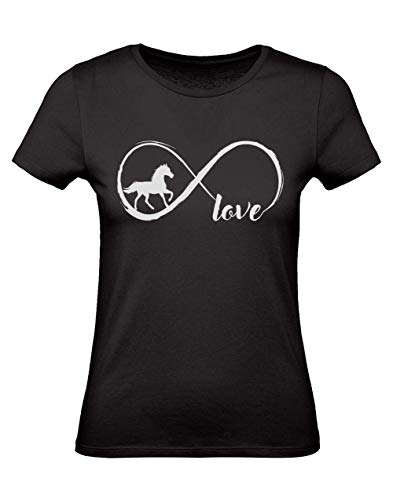Camiseta para Mujer - Ropa de Caballos - Horse Infinity Love Large Negro
