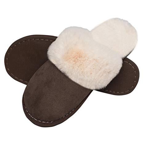Lastia Damen Hausschuhe Winter Warm Faux Pelz Slipper Weiche Flache Plüsch Pantoffel Rutschfeste Outdoor/Indoor- 40.5/42 EU, Etikettgröße: 290 (44-45), Dunkelbraun 6