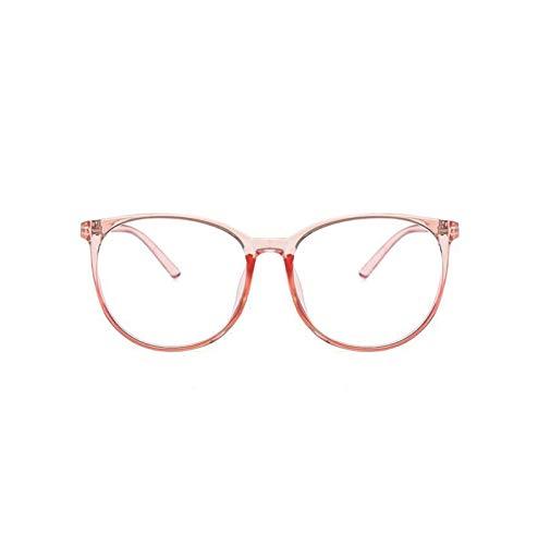 Without Marcos de Gafas Vidrios de Bloqueo de luz Azul 2021 Mujeres Clear Redondo Gafas Anti Blue Light Computer Glasses Hombres Seguridad Gafas Espectáculo (Frame Color : Clear Pink)