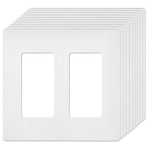 [10 Pack] BESTTEN 2-Gang USWP4 White Series Screwless Wall Plate, Decorative Outlet Cover, H4.69