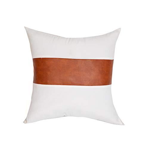 QMZ Fundas de Cojines Funda de Almohada de Rayas de Lona Blanca de Cuero Negro + PU de Estilo Simple 1~4 Piezas Funda de Almohada Cuadrada de sofá 45cm