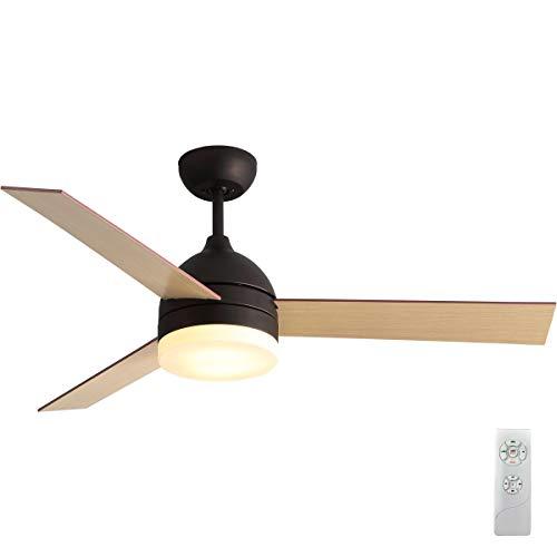 Ventilador de techo LED de 122 cm, incluye tres aspas de color arce, mando a distancia que se puede dividir en 3 niveles, adecuado para verano