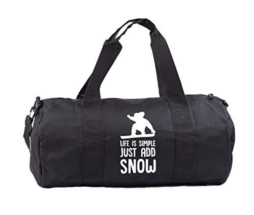Hippowarehouse Life is simple just add snow snowboard Gymwear Gym Duffle Cylinder Uniform Kit Bag 50 x 25 x 25cm 20 litres