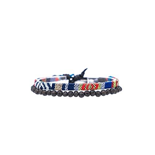 Made by Nami Boho Surfer-Armband 2er Set Herren & Damen - Handmade Strand Festival Accessoires - Azteken-Band Ethno Style - Männer Frauen Perlen-Armband - 100% Wasserfest (Blau E & Lava-Stein)