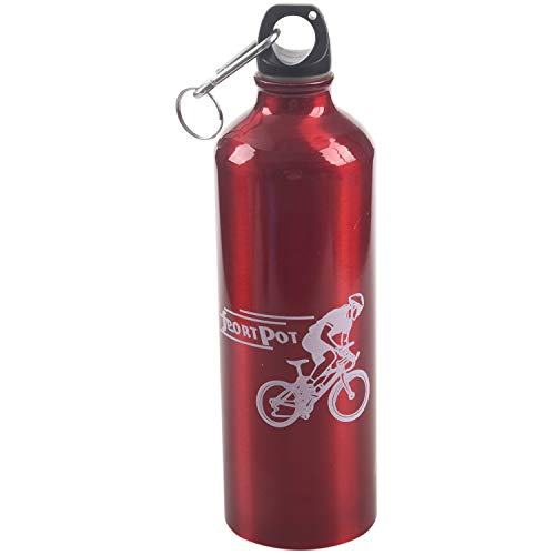 SODIAL(R) Cantimplora Botella Agua Deporte Ciclismo Camping Aluminio Rojo