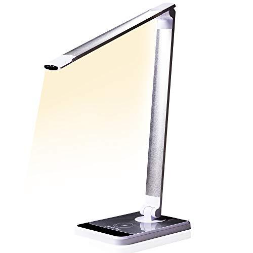 Lámpara de escritorio con sensor óptico, lámpara de mesa de 72 LED SAFEx, cargador inalámbrico + USB; 10 niveles de luminosidad táctil control; 14 W (protección ocular) con 3 tonos de luz