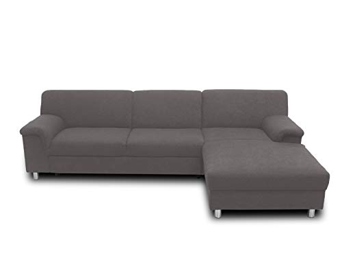DOMO. collection Jamie Ecksofa, Sofa in L-Form, Couch Polsterecke, Moderne Eckcouch, grau, 251x150x72 cm