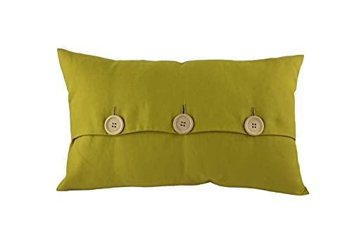Diselio 2 Fundas de Cojín Color Verde 30 x 50 cm, Tejido de Lino Hecho en España. Fundas Cojines Decorativas para sofás, Comedor, Dormitorio (Linver BOT 30x50)
