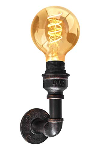 Dkdnjsk Retro Industrial Water Pipe Wall Light American Industrial Retro Water Pipe Wall lamp E27*1 Wall-Mounted Wall lamp Vintage Rustic Metal Steampunk Lamp Up or Down M0160-F [Energy Class A+]