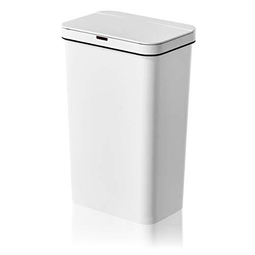 AMARE Kunststoff Mülleimer besonders leicht mit Sensor, 50 L Volumen, Abfallbehälter in Weiß, ca. 40 x 27 x 62,5 cm