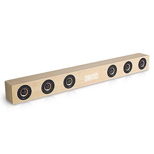 DBGS soundbar voor tv 30W hout Sound Bar Hi-Fi stereo Bluetooth luidspreker met afstandsbediening, AUX/HDMI/weergave klok, geschikt voor thuistheater,geel