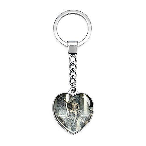 Hqiyaols Keychain BRITISCHER Neptun-Brunnen Cheltenham Englands Schlüsselkette Kreative Doppelseitige Herz-Kristall-Schlüsselkette Tourist Souvenir Metal