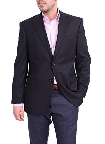Ital Uomo Men's Regular Fit Navy Blue Textured Two Button Wool Blazer Sportcoat