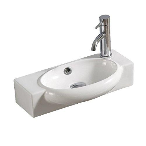Lux-aqua Keramik Waschtisch Waschbecken Handwaschbecken zur Wandmontage 4522TR, Weiß, 50 x 27 x 12 cm
