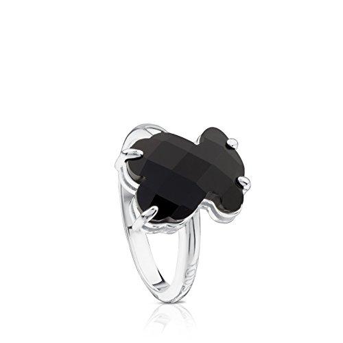 Anillo TOUS Erma de Plata de Primera Ley con oso de Ónix Negro, Tamaño Oso: 1,2 cm, Talla 13,5