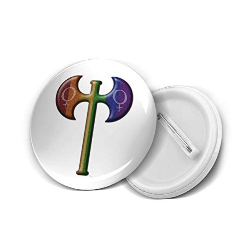 Lesbian Gay Pride Flag Labrys Round Brooch Badge Pins For Women Men Girls T Shirt Bag Backpacks Hat Accessories