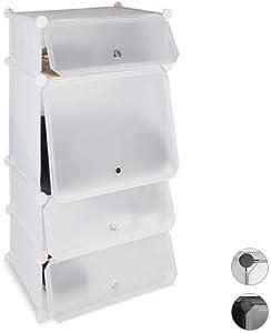 Relaxdays Scarpiera 4 Scomparti, Mobile Porta-Scarpe, Scaffale Componibile in Plastica, HxLxP: 91 x 49 x 36,5 cm, Bianco