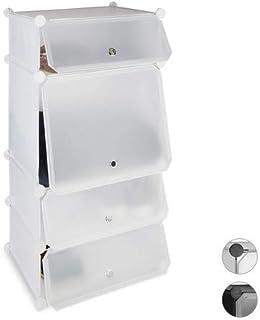 Relaxdays Zapatero Estrecho Modular con 4 Compartimentos, Blanco, 91 x 49 x 36.5 cm