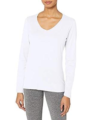 Hanes Women's V-Neck Long Sleeve Tee, White, Small
